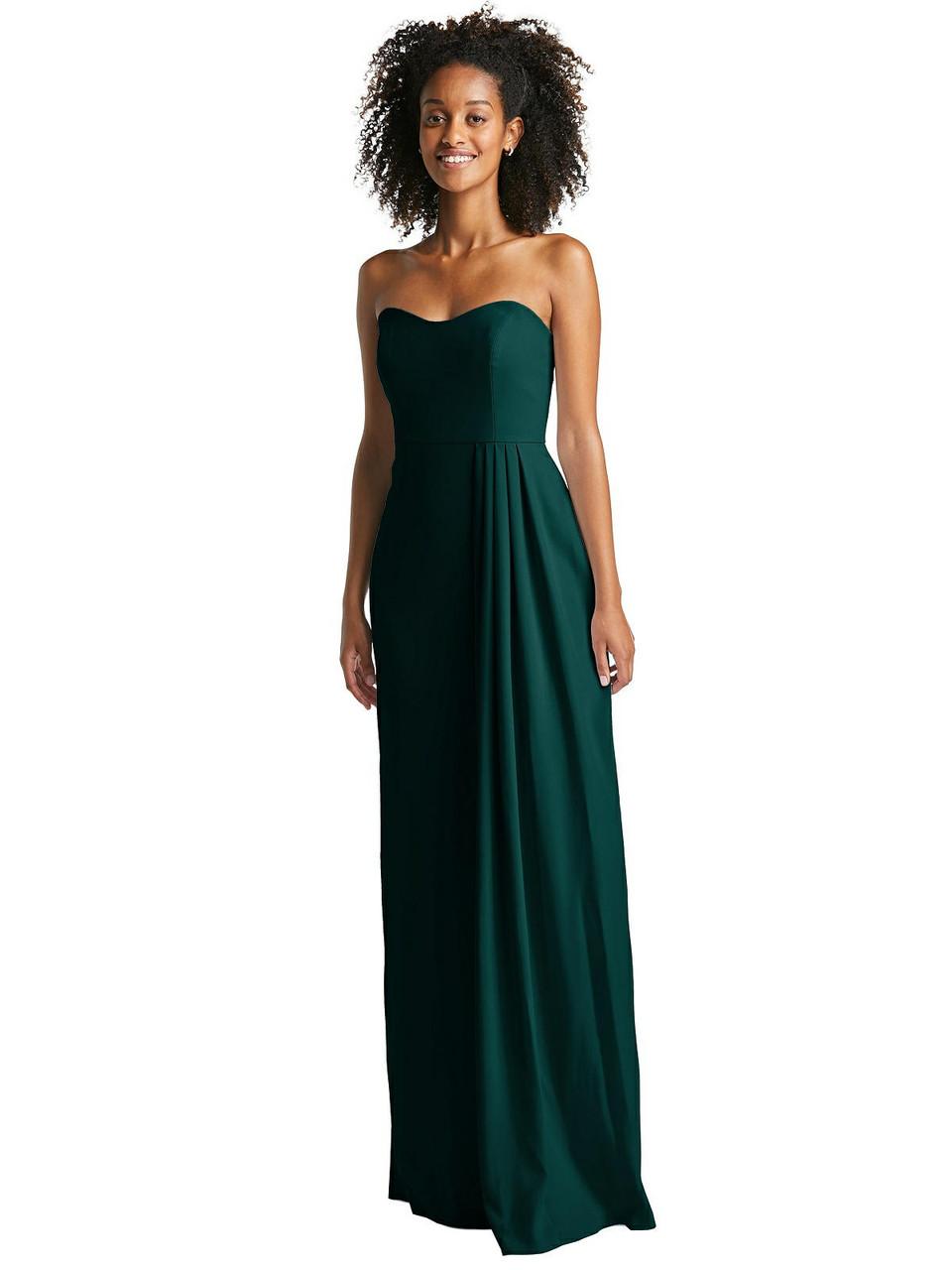 Jenny Packham Style JP1058  |  Crepe- Strapless Maxi Dress with Pleated Drape Skirt