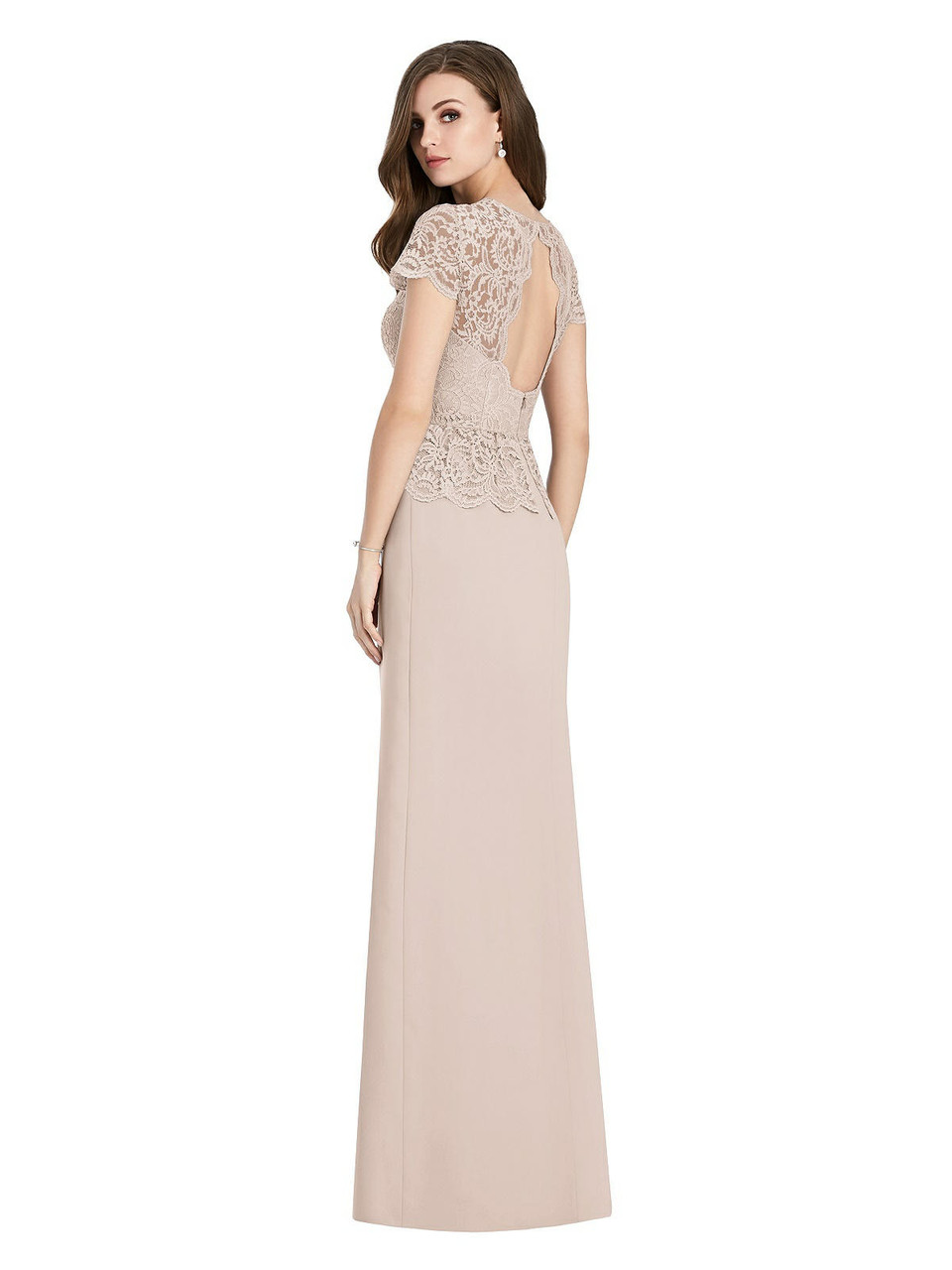 Jenny Packham Style JP1012  |  Marquis Lace & Crepe - Short Sleeve Open-Back Lace Peplum Maxi Dress