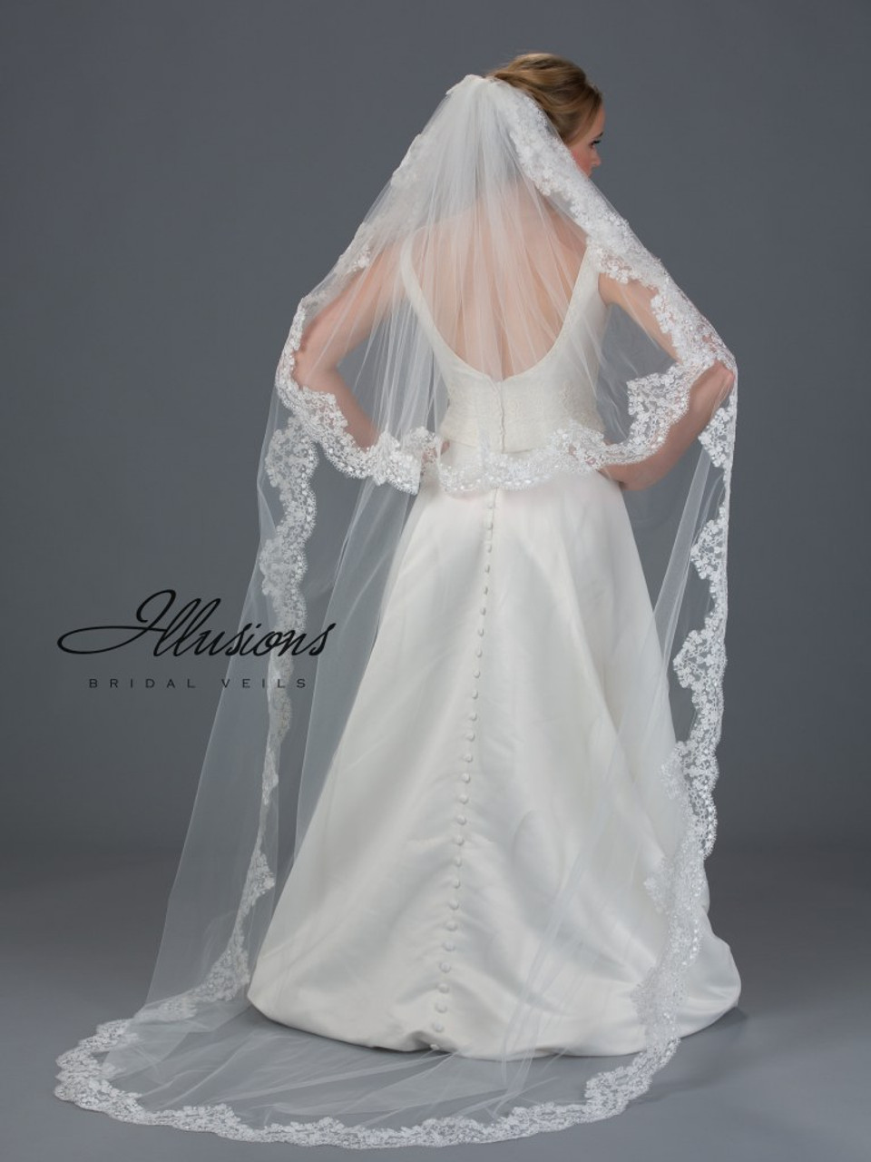 Illusions Bridal Veils Style S7-902-13L - 2 Layer Circle Cut Chapel Lace Edge