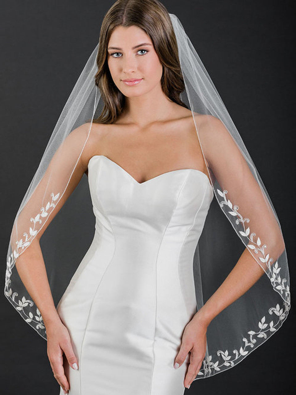 Bel Aire Bridal Veil 1-tier fingertip veil with beaded leaf embroidery