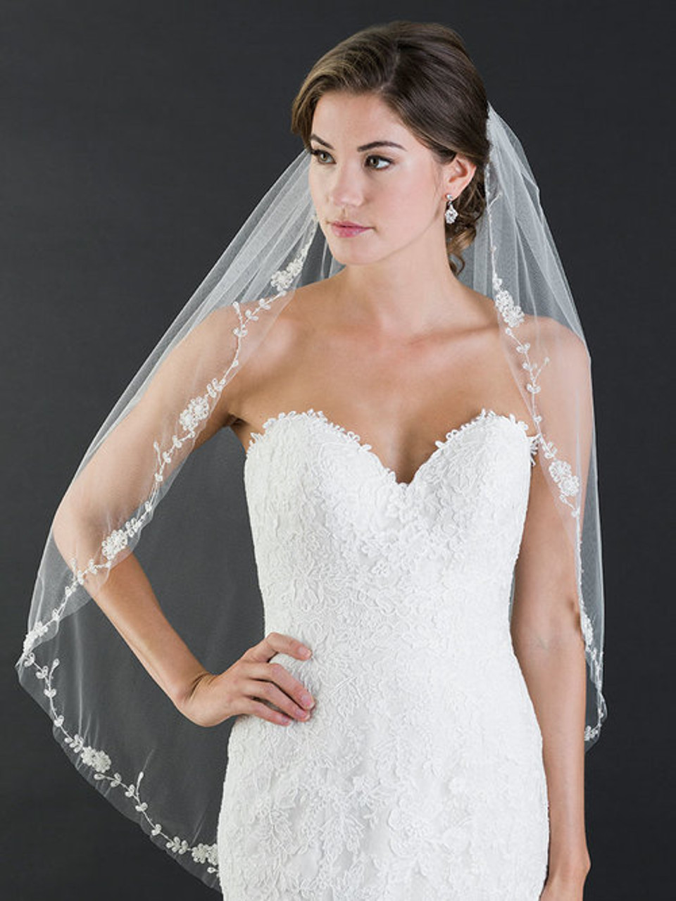 Bel Aire Bridal Veil V7452 1-tier fingertip romantic veil of embroidered flowers and leaves