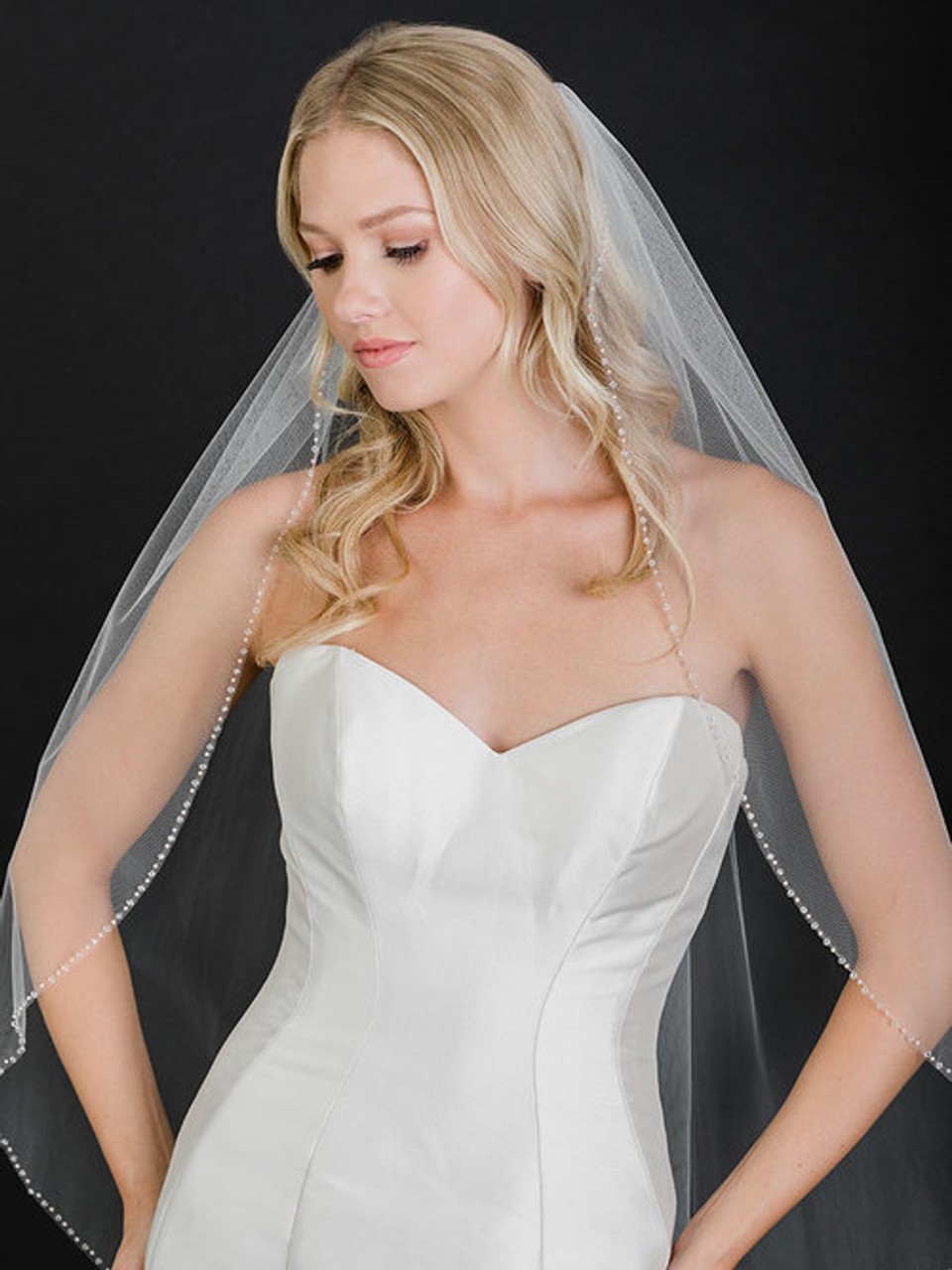 Bel Aire Bridal Veil  V7501 - 1-tier fingertip veil with crystals and champagne pearls