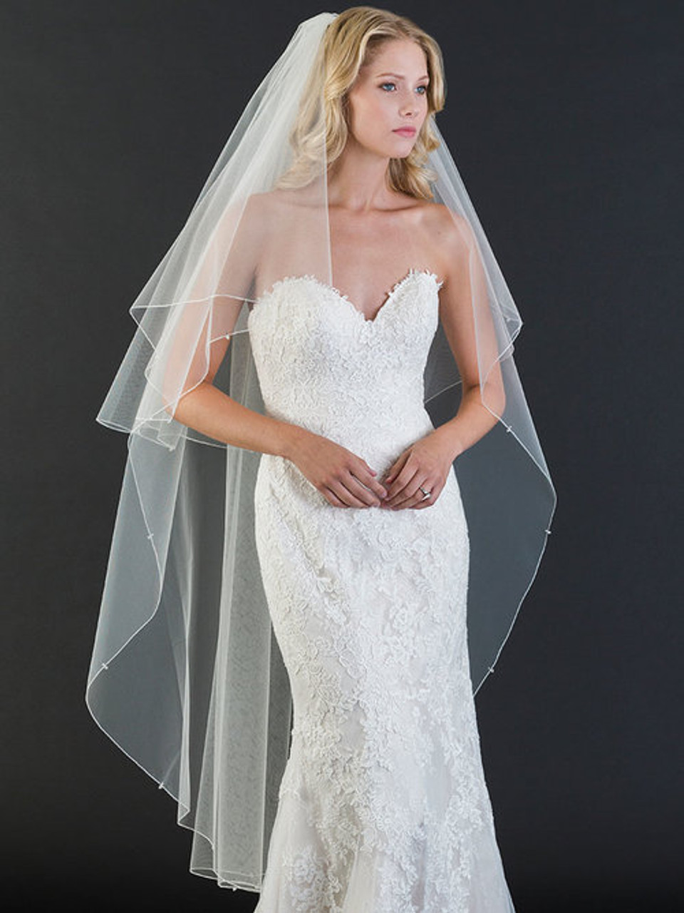 Bel Aire Bridal Veil V7458 Foldover waltz length veil with rolled edge, crystals and rhinestones