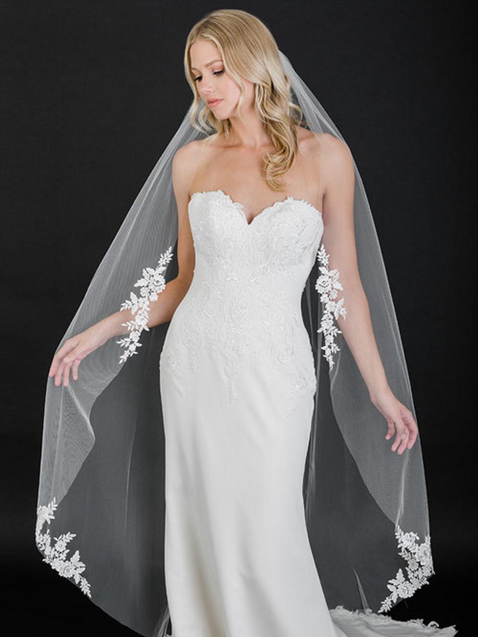 Bel Aire Bridal Veil V7505 - 1-tier cut edge waltz veil with Venise lace appliqués