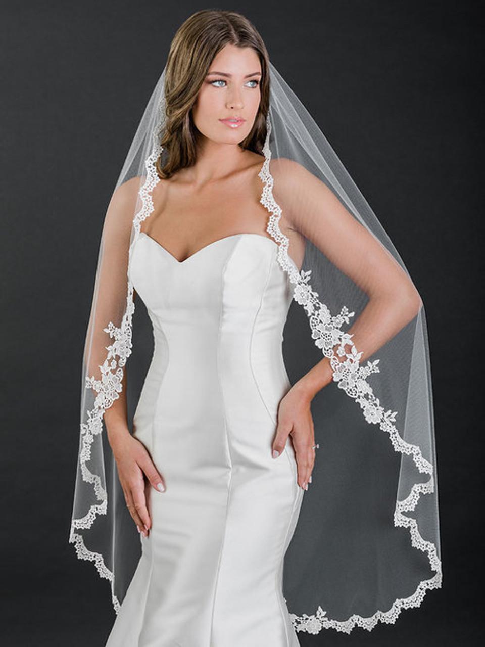 Bel Aire Bridal Veils V7509 - 1-tier knee length veil with Venise lace edge