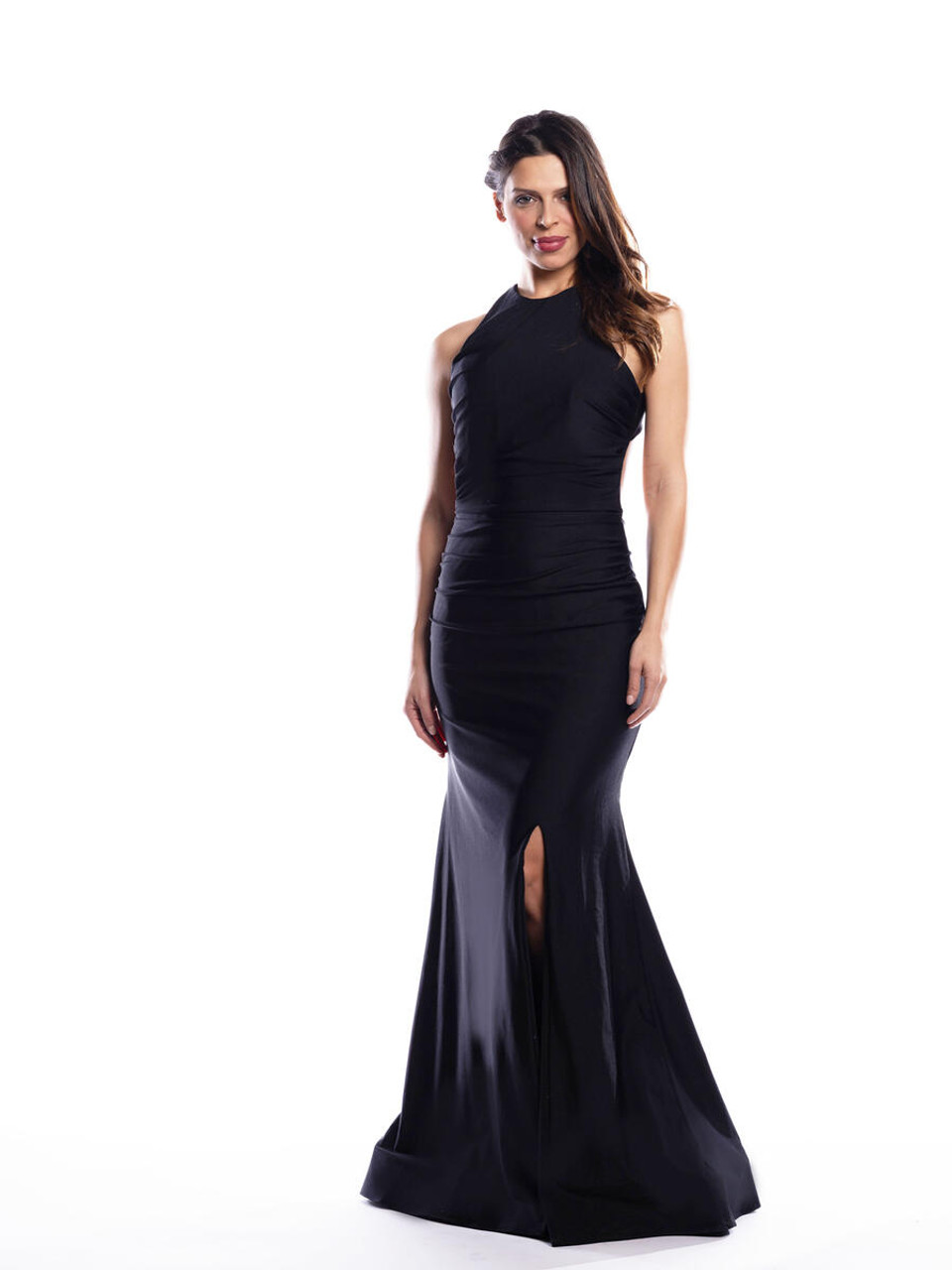 Bari Jay 2067 High Neck Halter Dress - Lux Stretch