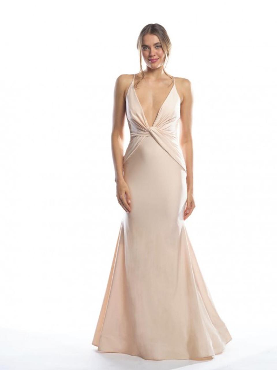 Bari Jay 2062 Deep V Twist Bridesmaid Dress - Lux Stretch