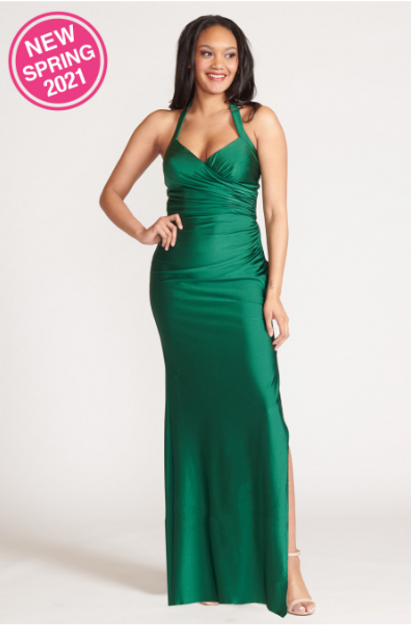Bari Jay 2109 Thick strapped v-neck halter Bridesmaid Dress - Lux Stretch