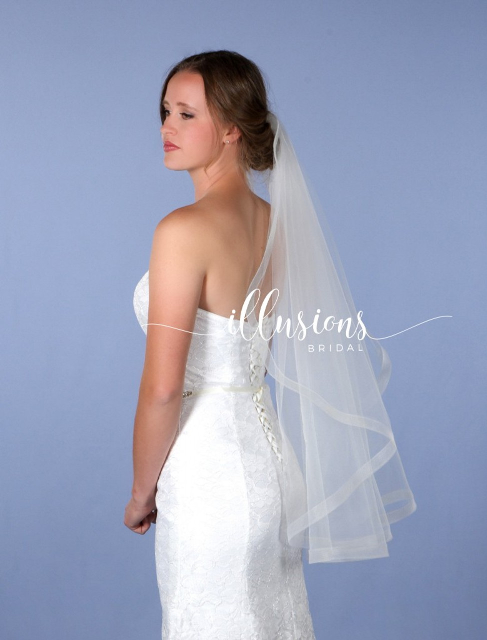 """Illusions Bridal Veils Style Number: AR7-361-1H - 36"""" 1"""" Horsehair (72"""" w, angel rounded)"""