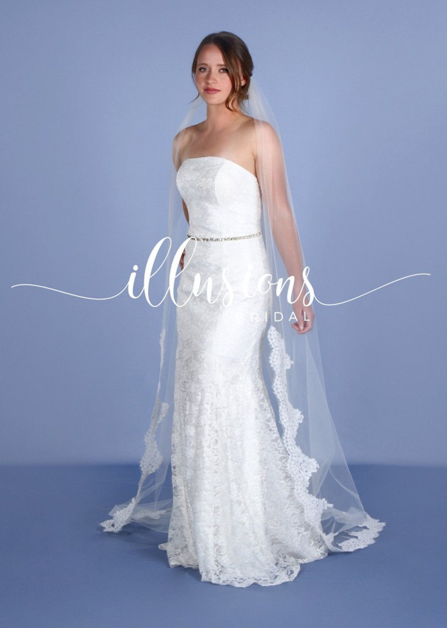 """Illusions Bridal Veils Style Number: 7-901-F21L 90"""" Cut with partial #21"""