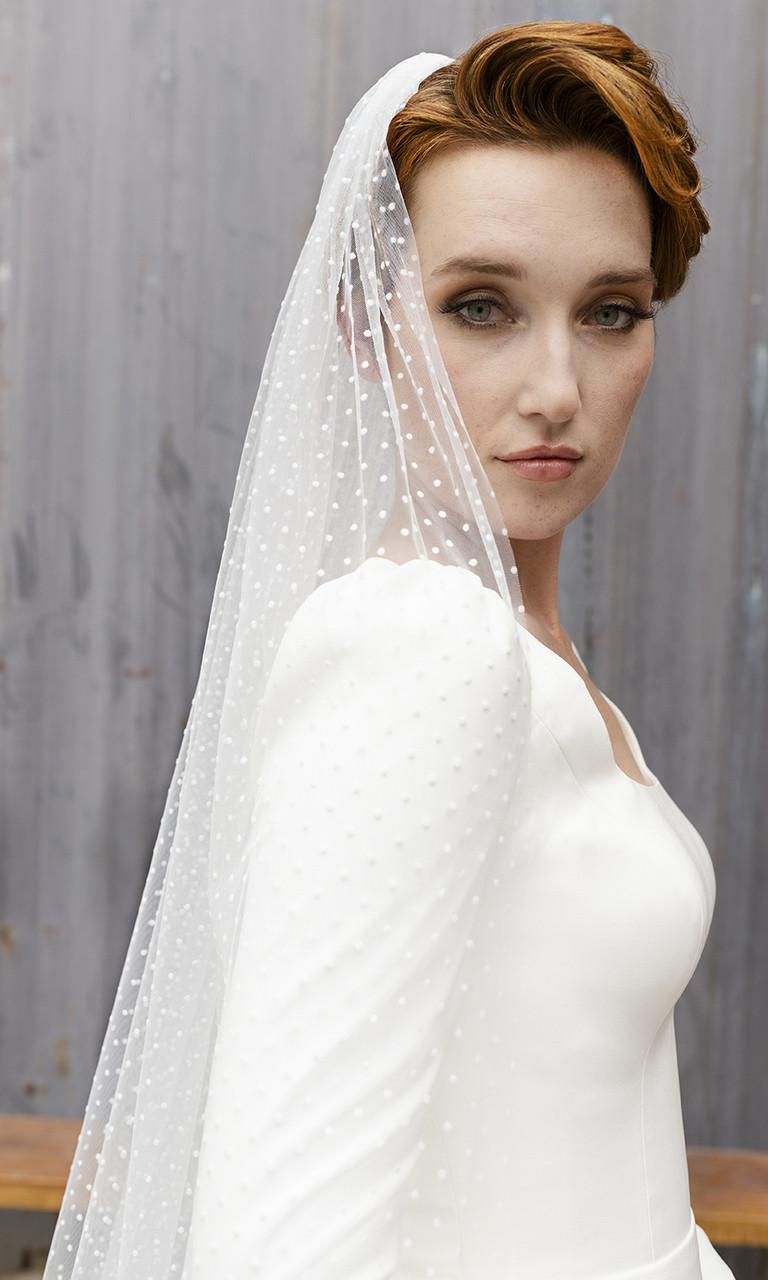 En Vogue Bridal Style V2296C - English Tulle Velvet Swiss Dot Veil With Raw Edge - 108 Inches
