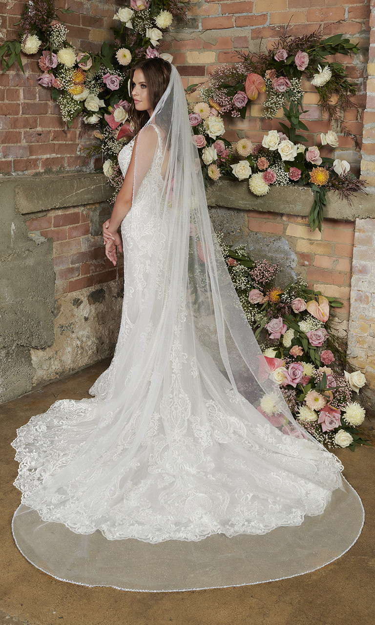 En Vogue Bridal Style V2299C - Sparkle tulle veil with clear beaded, crystal and sequined edge - 108 Inches