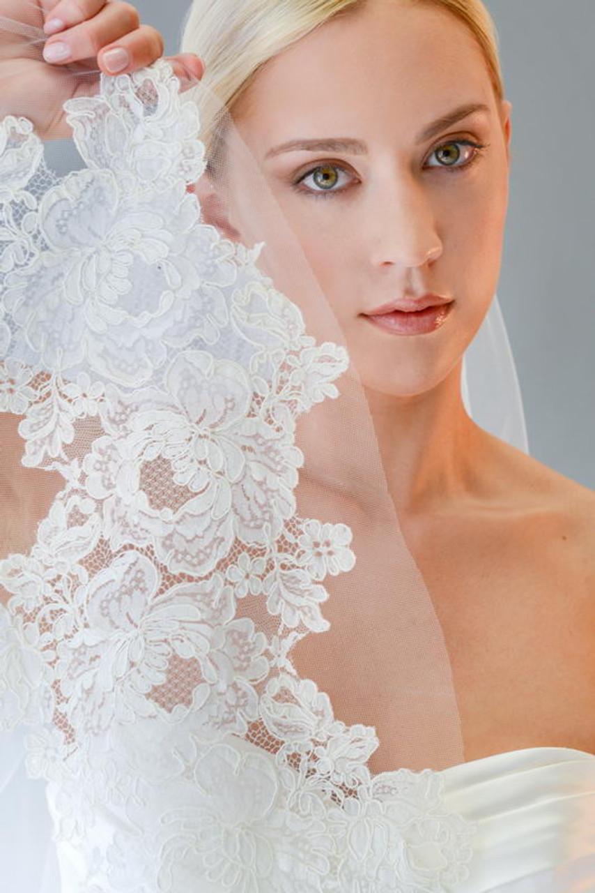 Erica Koesler Wedding Veil 849-110 - Lace Cathedral w/ Cut Edge