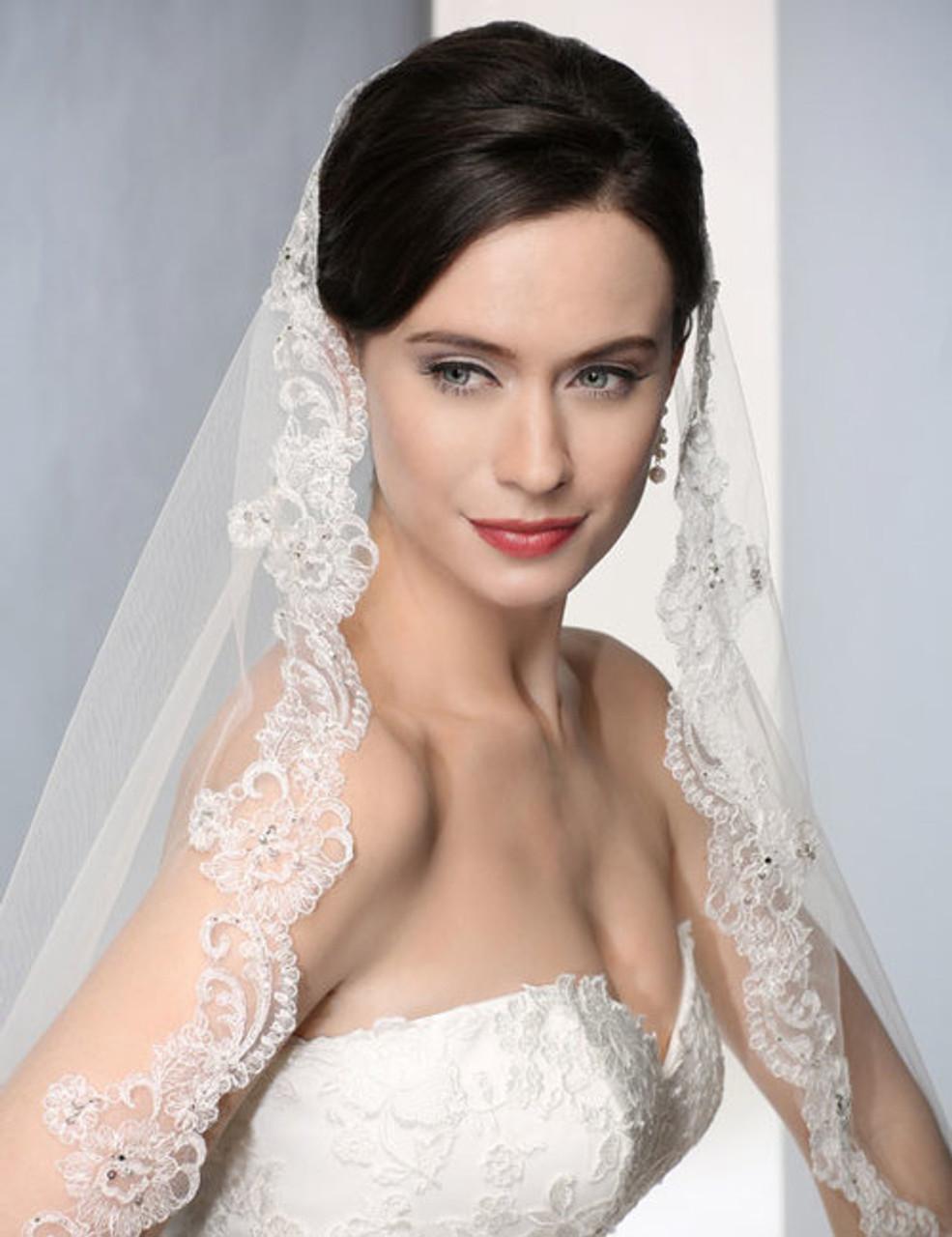 Bel Aire Bridal Wedding Veil V7183C - Cathedral Wedding Veil  Length - Mantilla Style - Alencon Lace