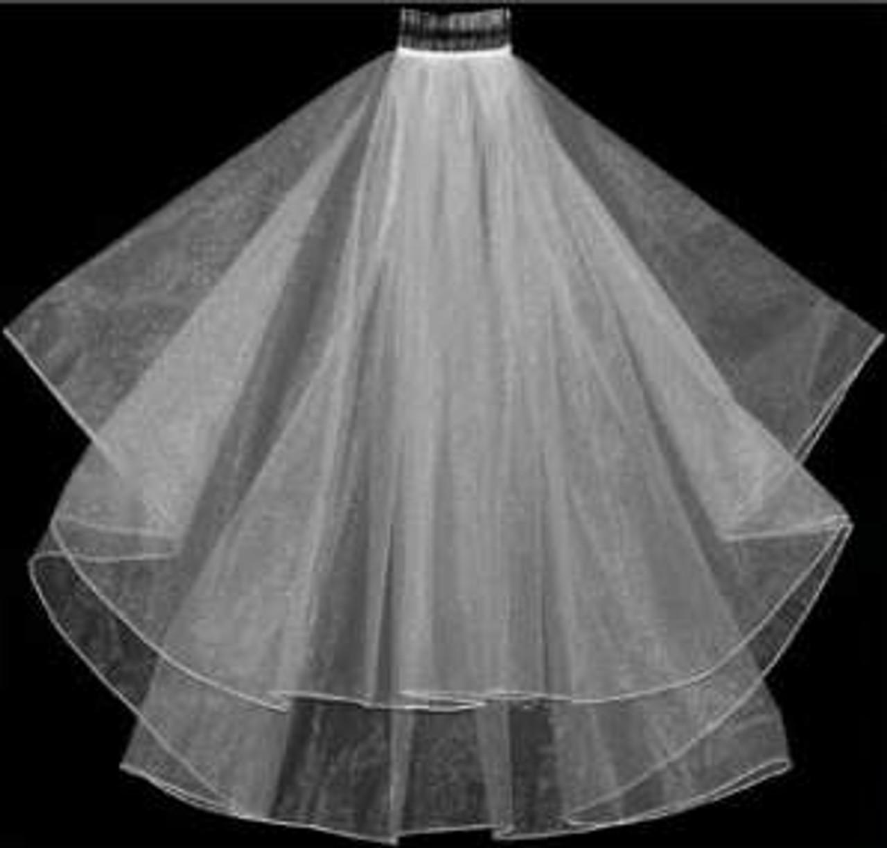 """LC Bridal Style V103-180 - Two Tier Fingertip Hemmed Edge Veil - 25""""/30"""""""