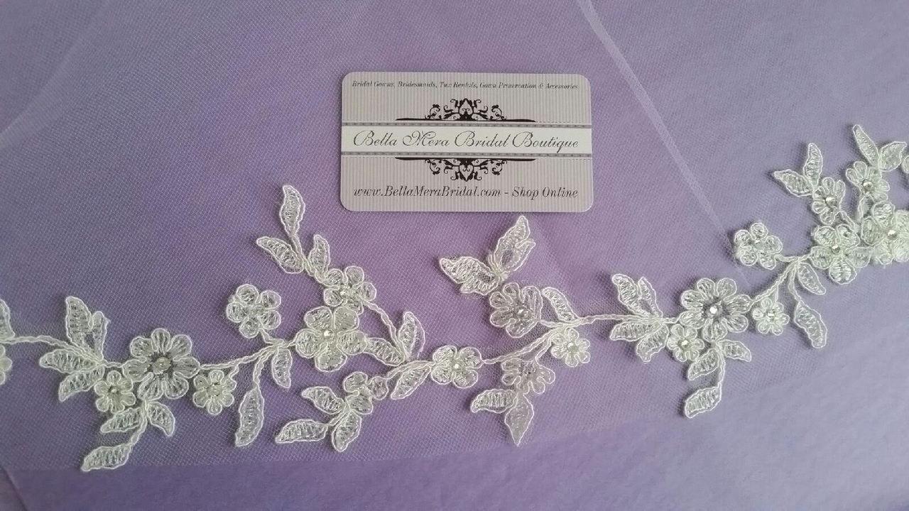 C Bridal Style V2248-580 - One Tier Fingertip Chantilly Lace w/ Rhinestone Edge Veil