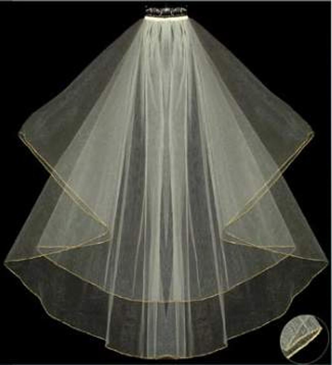 LC Bridal Style V2016-180 - Two Tier Fingertip Gold Thread Serged/Hemmed Edge Veil