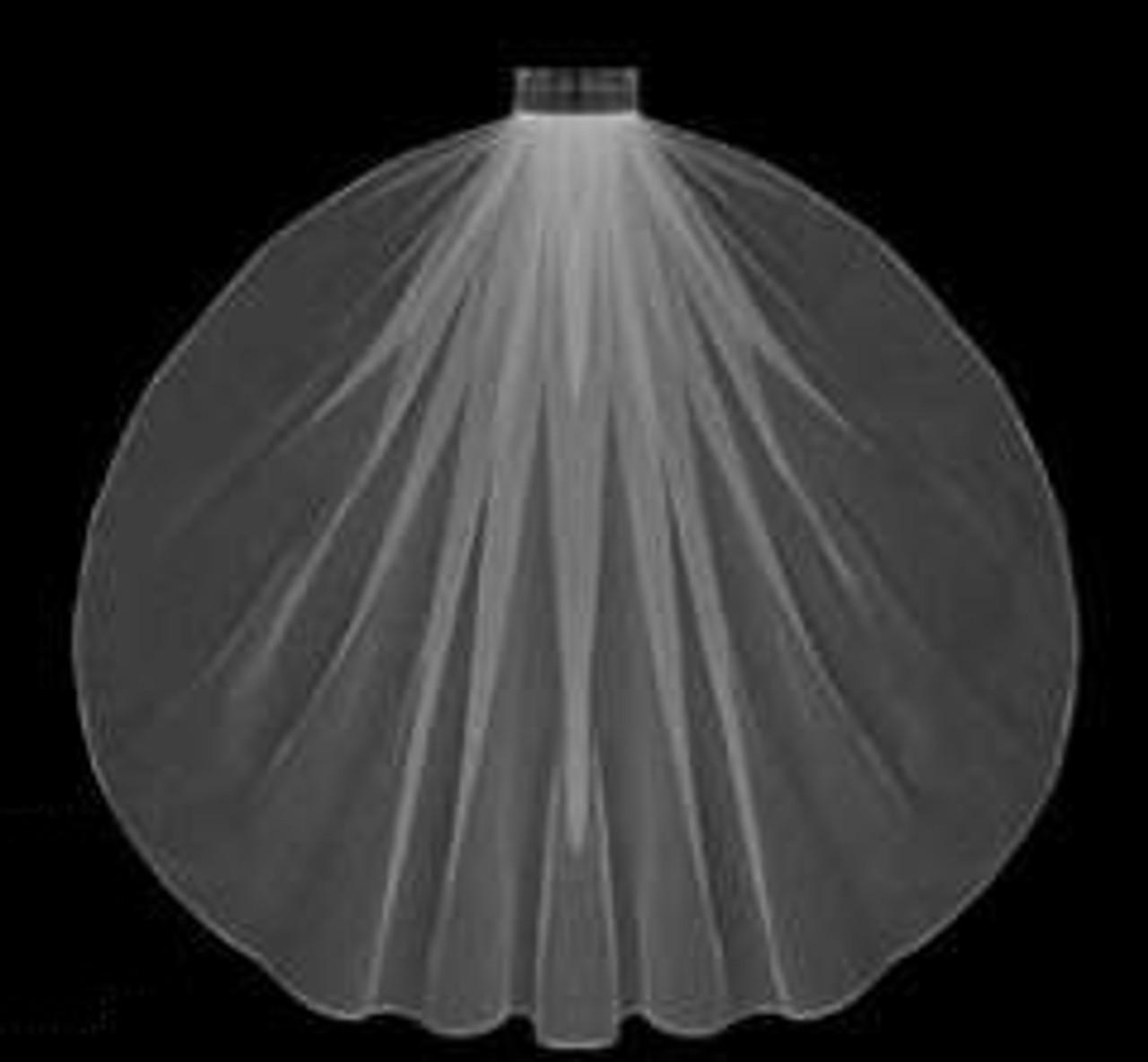 "LC Bridal Style V632-180 - Two Tier Fingertip Hemmed (Pencil, Finished) Edge Veil - 30""/42"" Long"