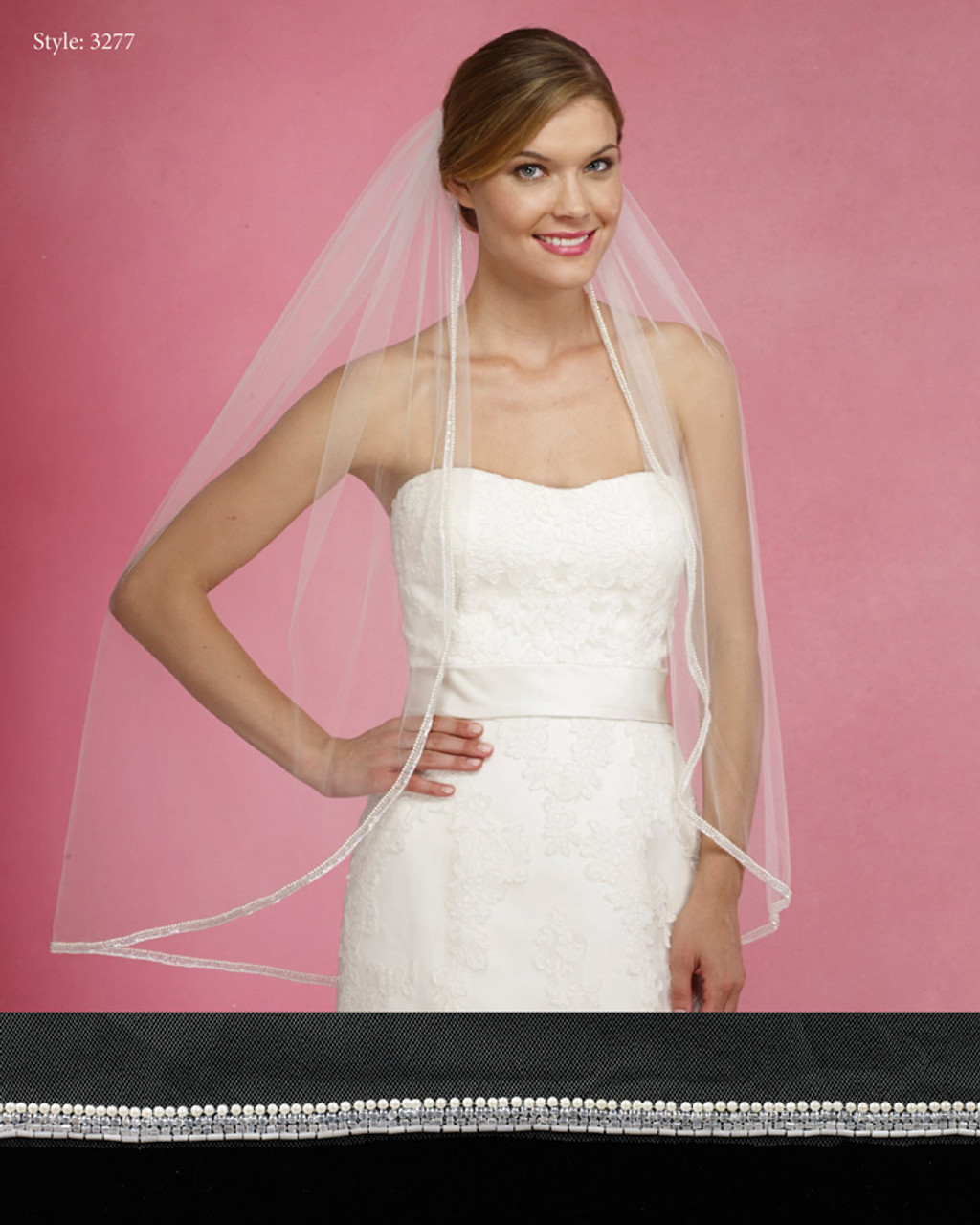Marionat Bridal Veils 3277- The Bridal Veil Company - 4 Rows of Beads and Pearls