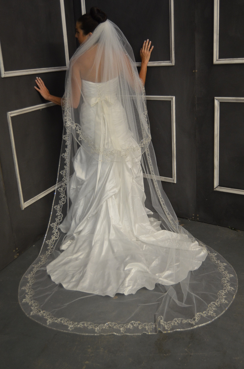 Elena Designs Wedding Veil Style E1149L - Cathedral Beaded Wedding Veil
