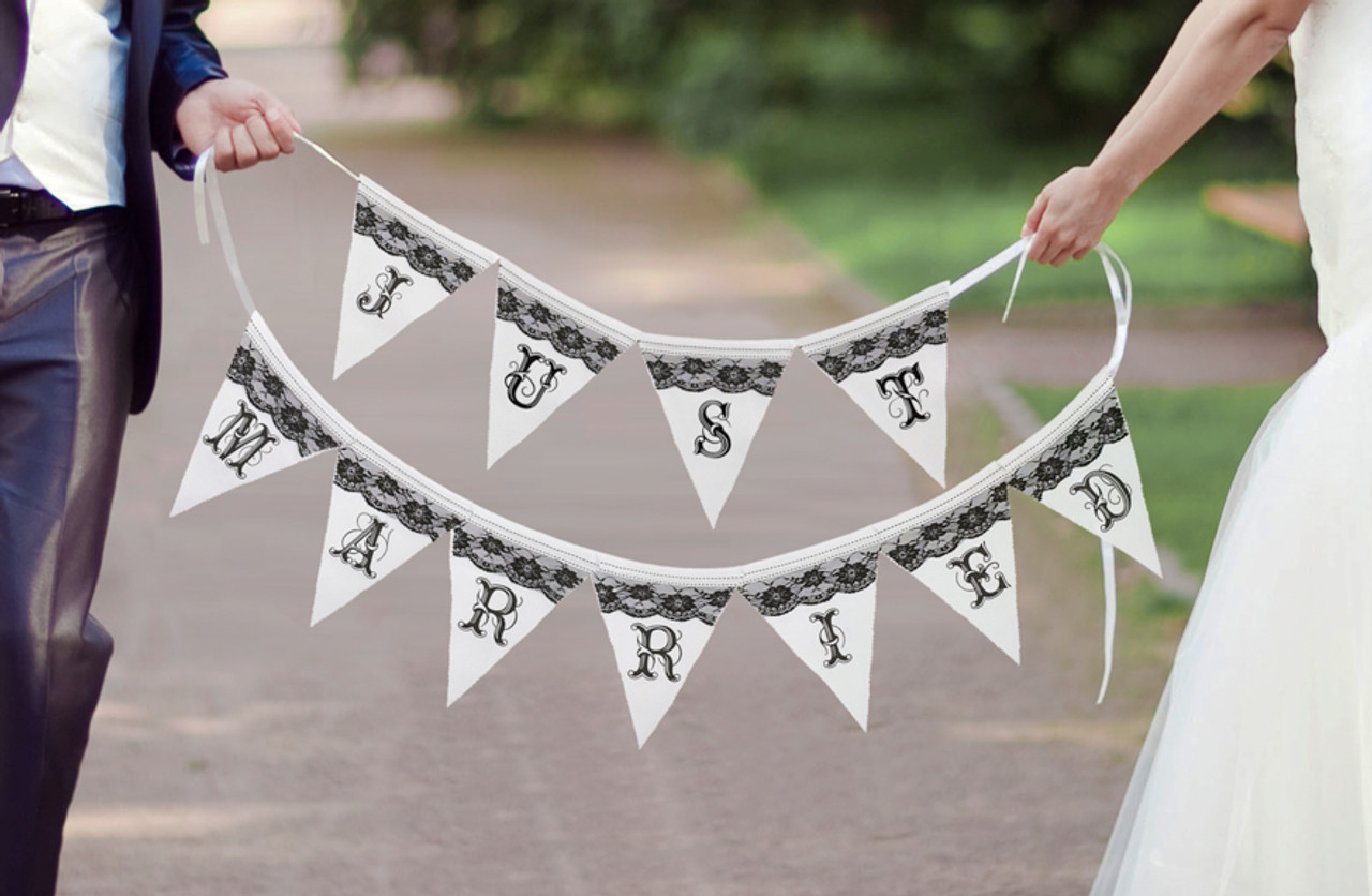 Just Married Black and White Banner - Lillian Rose