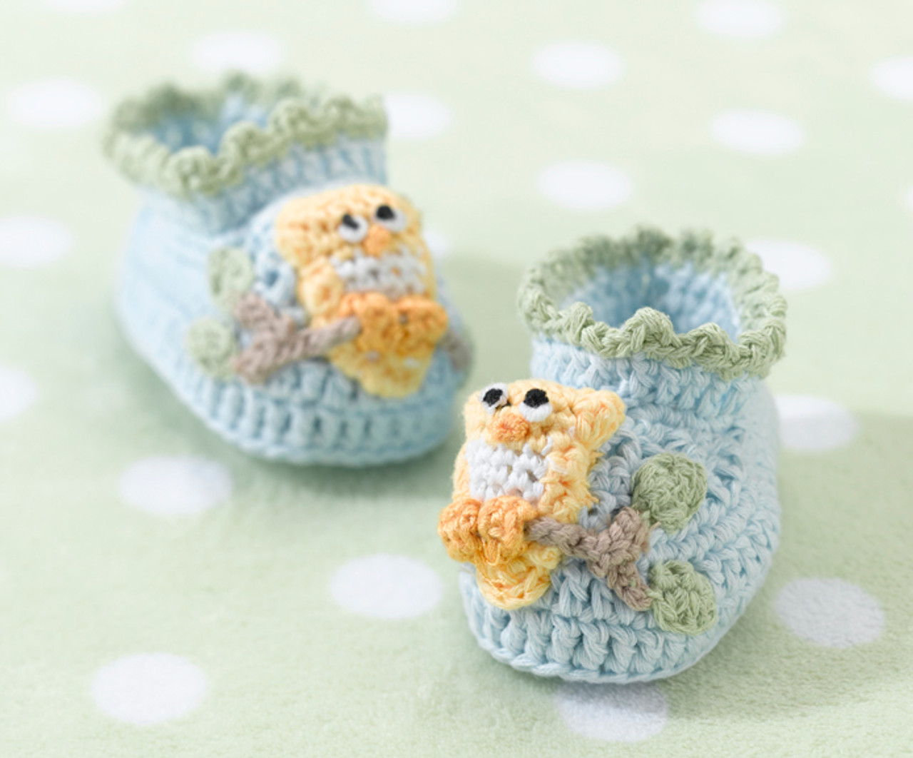 Pair of Blue Owl Booties   - Lillian Rose