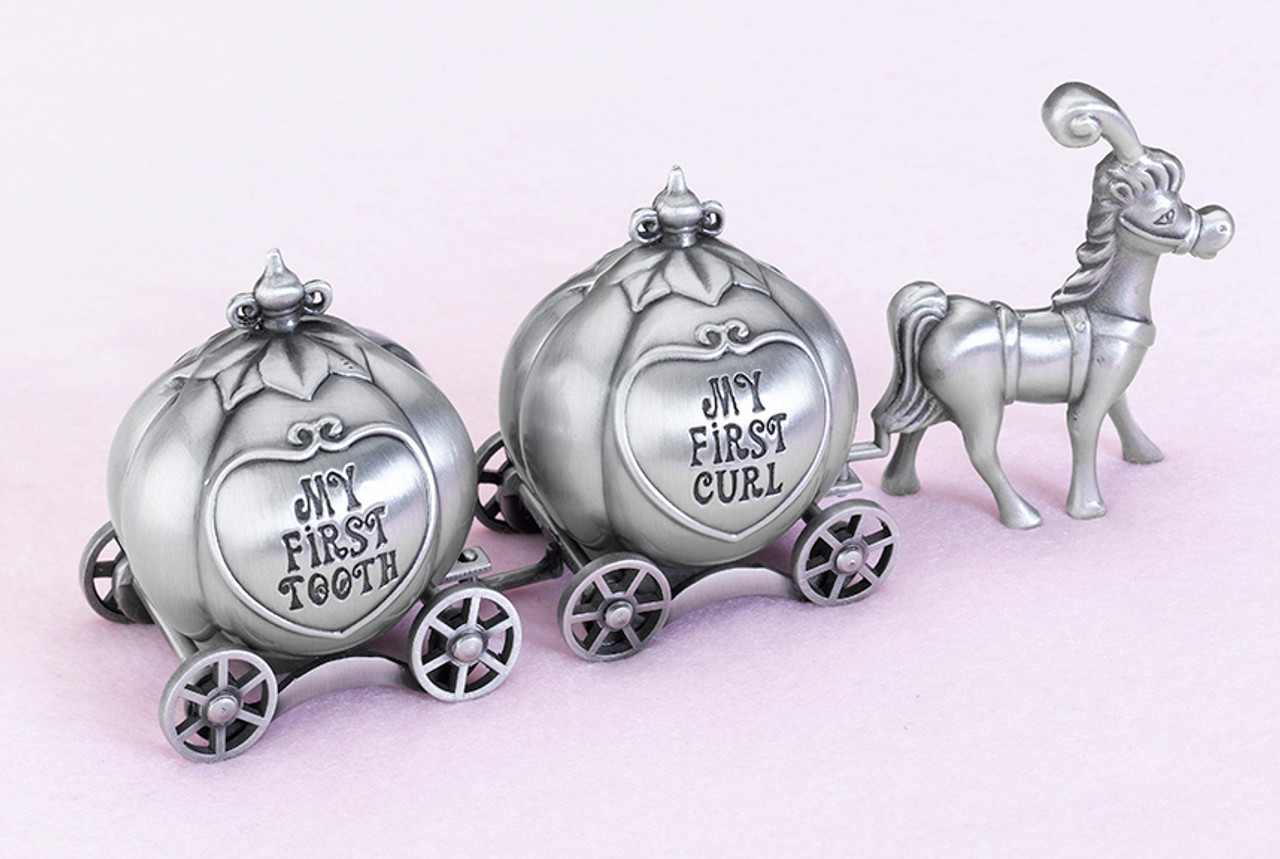 Fairy Tale Coach Pewter Tooth and Curl Boxes  - Lillian Rose