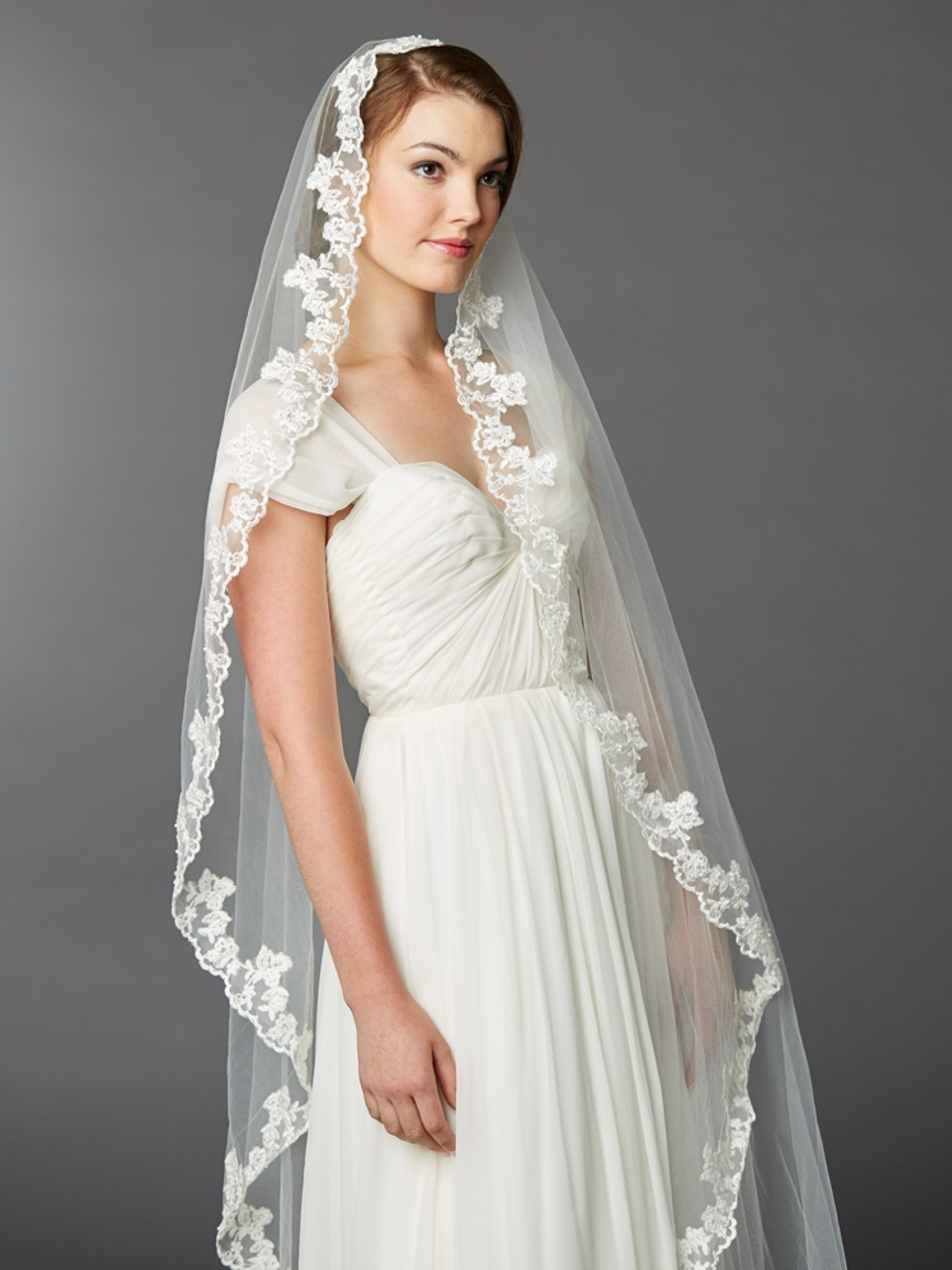 Classic Alencon lace style wedding veil bridal veil with exclusive lace edge design Cathedral veil with lace edge design with beaded lace