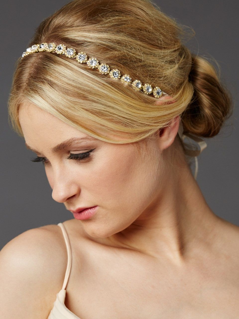 Mariell Rose Gold Wedding Bridal Headband with Round Crystals and Ivory Ribbons