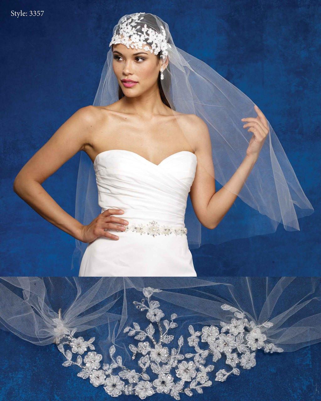 Marionat Bridal Veils 3357- The Bridal Veil Company - Veil with Clips and Lace Headband