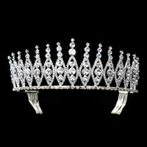 Fashion Jewelry Lovely Headpiece #8702 Antique Silver Clear Ab Tiara Jewelry & Watches