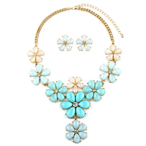 Mariell Bridals Mint Flower Power Necklace Set 4335S-MIN-G