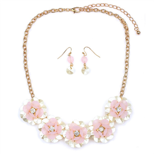 Mariell Bridals Pearlized Pink Flower Necklace Set 4332S-PK-G