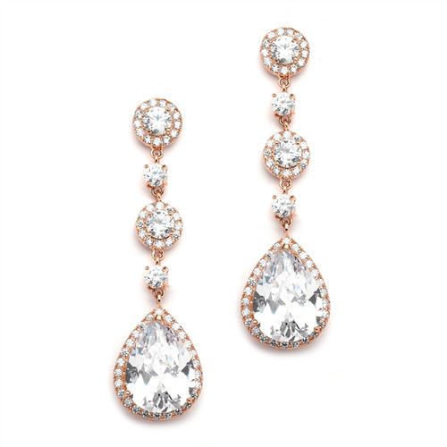 Mariell Rose Gold Pear-Shaped Drop Bridal Earrings with Pave CZ 400E-RG