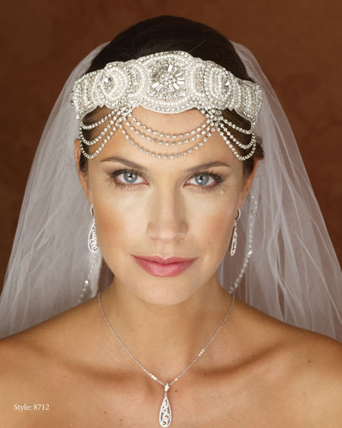"Marionat Bridal 8712 Rhinestone Headwrap 20"" Long- Le Crystal Collection"