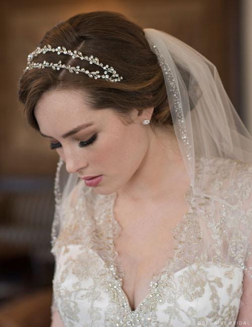 Bel Aire Bridal 6661 Headband - Double row headband of round and marquise rhinestones