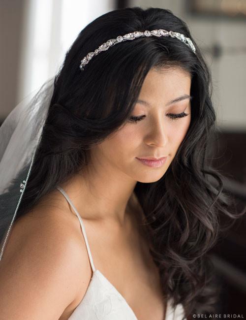 Bel Aire Bridal 6685 - Narrow rhinestone headband