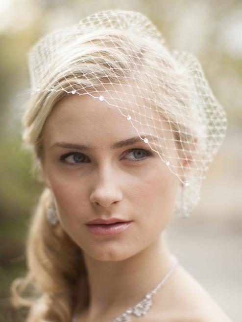 Mariell Bridals 123V French Net Bridal Birdcage Visor Veil with Swarovski Crystals