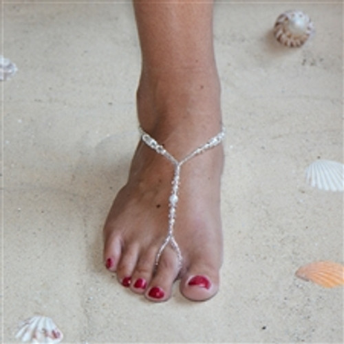 593aac3a7 Crystal and Glass Pearl Foot Jewelry Barefoot Sandal with Beaded Anklet  4474FT-W
