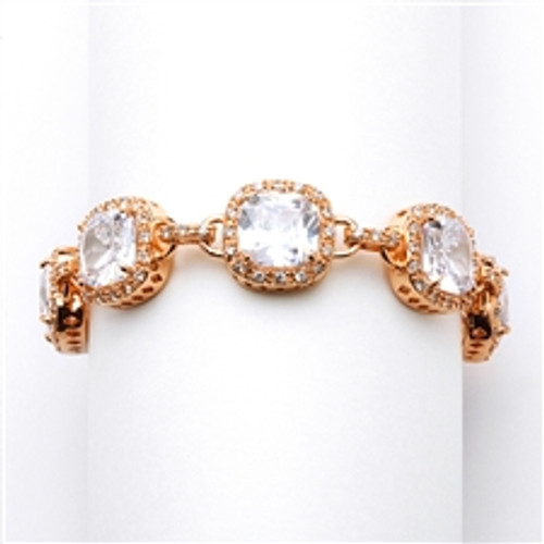 Magnificent Cushion Cut CZ Rose Gold Bridal or Pageant Bracelet-4069B-RG-7