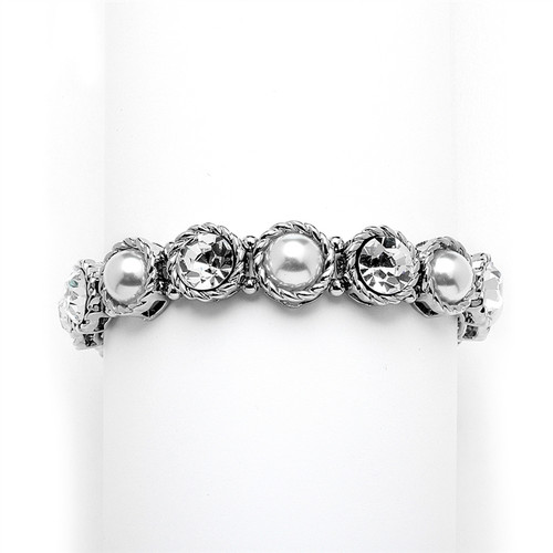 Mariells Fabulous Bridal or Bridesmaids Silvery Pearl and Crystal Stretch Bracelet 4249B
