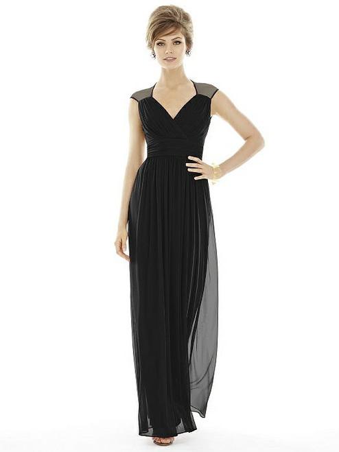 Alfred Sung Dress Style D693 - Black - Chiffon Knit - In Stock Dress