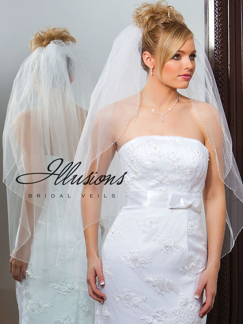 Illusions Bridal Veils Style V-748 - 2 Tier edge silver bugle bead and seed beads