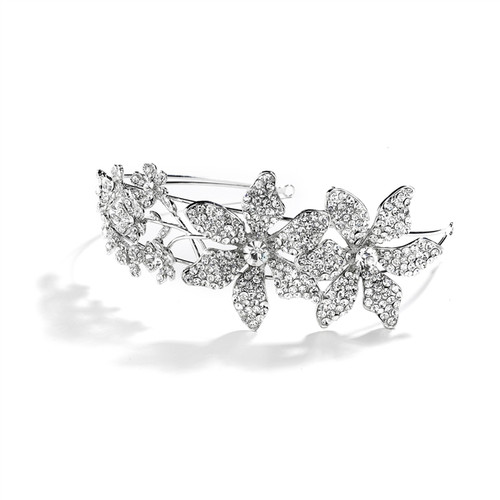 Mariell Bridal Headband with Crystal Flowers and Split Band 4034HB