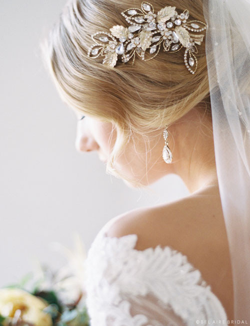 Bel Aire Bridal Headband 6721 - Wired clip of leaves with rhinestones