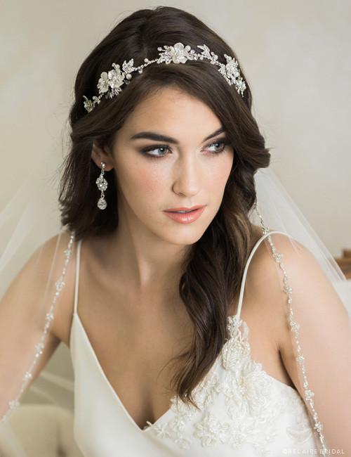 4cd202fc40a71 Bel Aire Bridal 6726 - Flexible metal flower garland with rhinestones