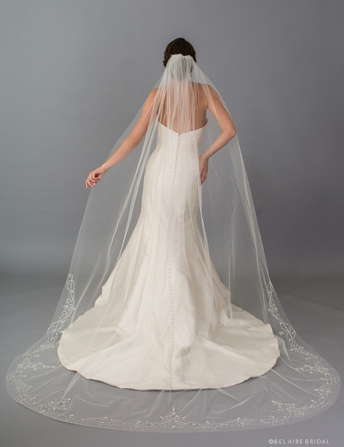9deb3e2266 Bel Aire Bridal Veils V7403C - 1-tier cathedral veil with cut edge and  sparkling beads