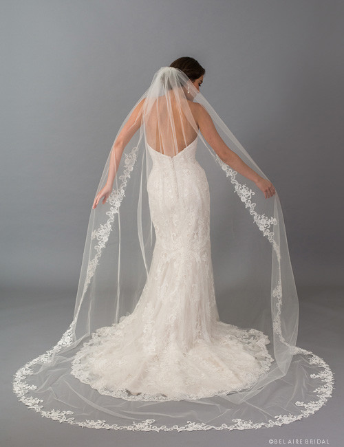 9afce6cb50 Bel Aire Bridal Veils V7406CX - 1-tier cathedral veil with rolled edge and  dramatic floral lace