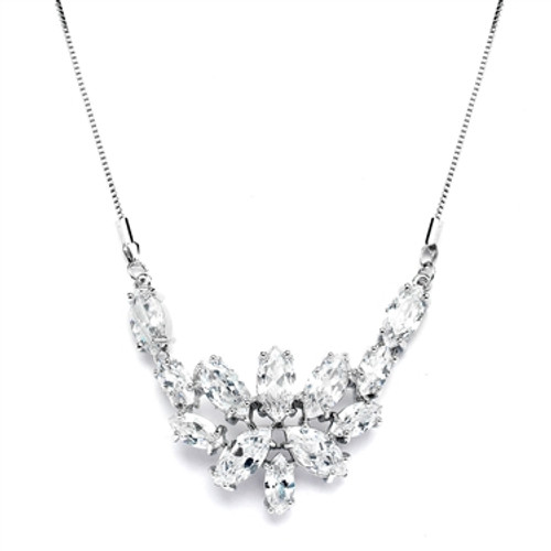 Mariells CZ Cluster Wedding Necklace with Marquis Leaves 4371N-S