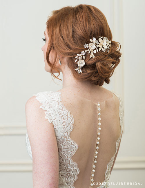 Bel Aire Bridal 6772 - Clip Of Metal Flowers And Leaves